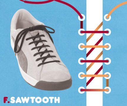 วิธีผูกเชือกรองเท้าแบบ Sawtooth