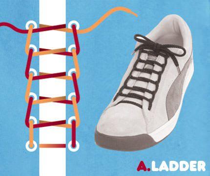 วิธีผูกเชือกรองเท้าแบบขั้นบันได Ladder