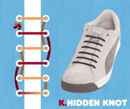 วิธีผูกเชือกรองเท้าแบบซ่อนเงื่อน Hidden Knot